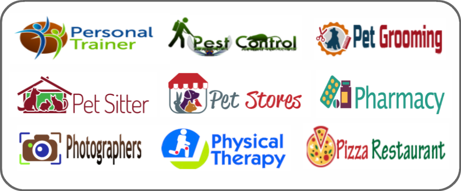 personal trainer, pest control, pet grooming, pet sitter, pet stores, pharmacy, photographer, physical therapy, pizza restaurant