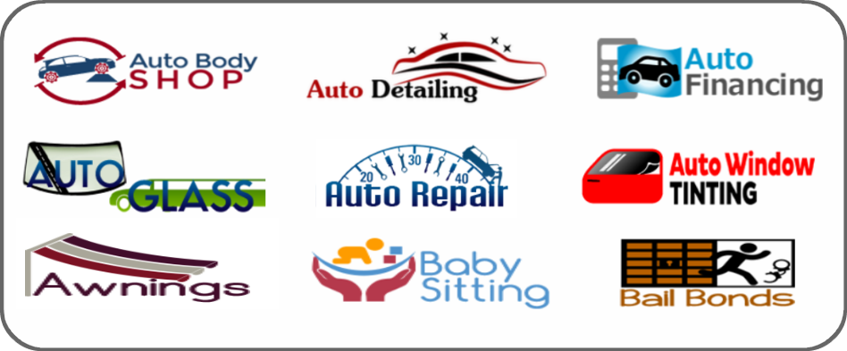 auto body shop, auto detailing, auto financing, auto glass, auto repair, auto window tinting, awnings, baby sitting, bail bonds