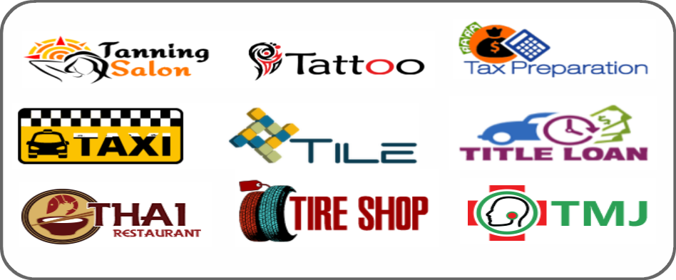 tanning salon, tattoo, tax preparation, taxi, tile, title loan, Thai restaurant, tire shop, TMJ