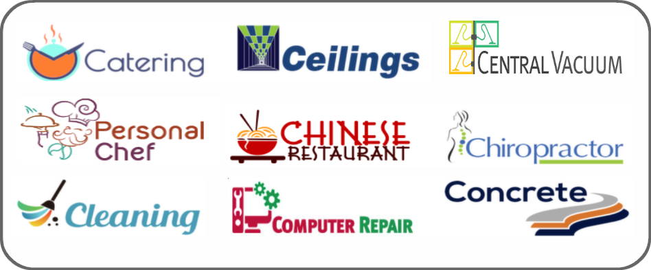 catering, ceilings, central vacuum, personal chef, Chinese restaurant, chiropractor, cleaning, computer repair, concrete