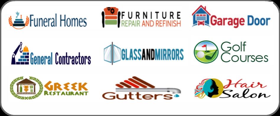 funeral homes, furniture repair refinish, garage doors, general contractor, glass mirror, golf course, Greek restaurant, gutters, hair salon