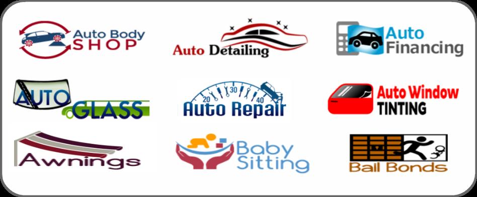 auto body shop, auto detailing, auto financing, auto glass, auto repair, auto window tinting, awnings, baby sitting, bail bonds