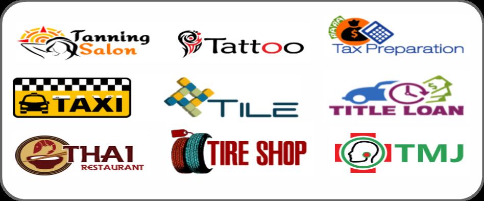 tanning salon, tattoo, tax preparation, taxi, tile, title loan, Thai restaurant, tire shop, TMJ